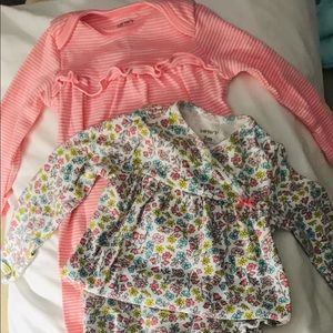 2 Carter's 3 mo baby girl night gowns.